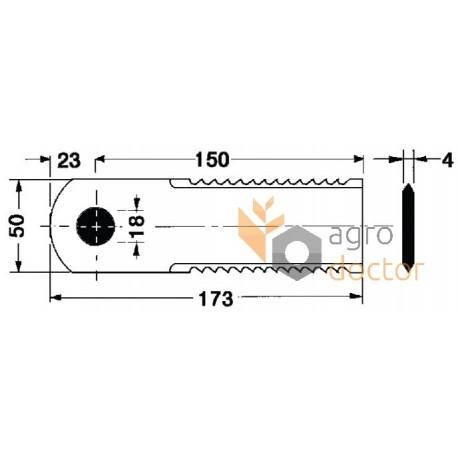Straw chopper revolve knife blade 173х50х4 [Rasspe]