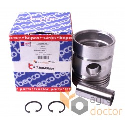 Piston with pin for engine - 739845M91 Massey Ferguson [Bepco]